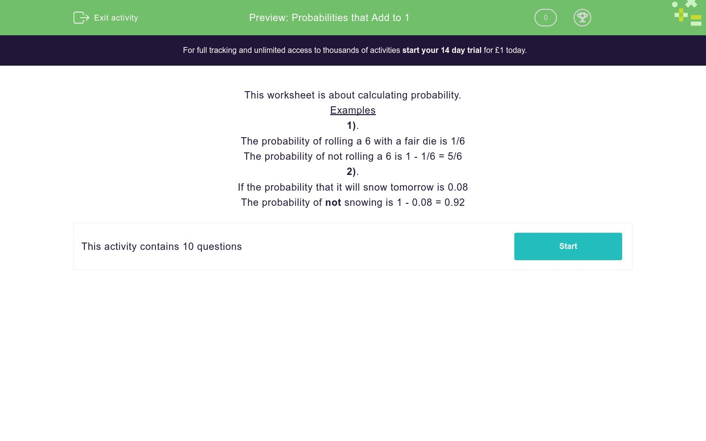 'Probabilities that Add to 1' worksheet
