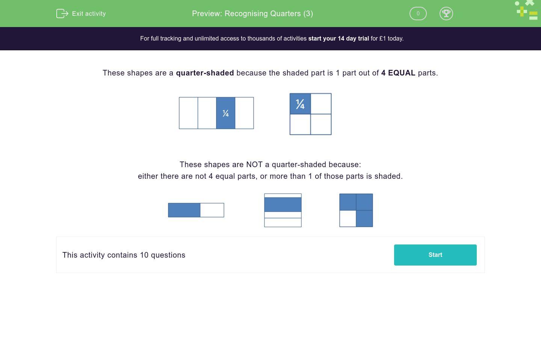 'Recognising Quarters (3)' worksheet