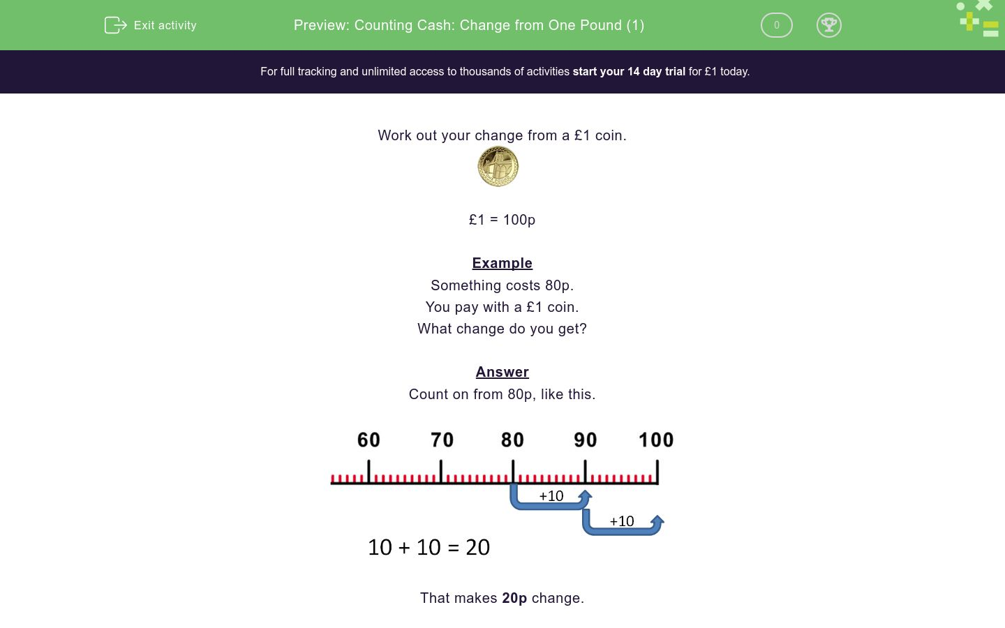 'Counting Cash: Change from One Pound (1)' worksheet