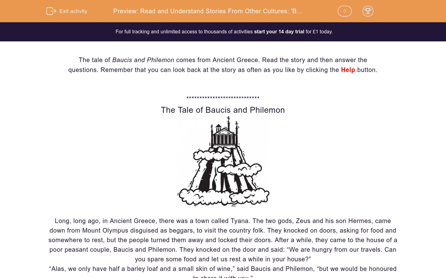 'Read and Understand Stories From Other Cultures: 'Baucis and Philemon'' worksheet
