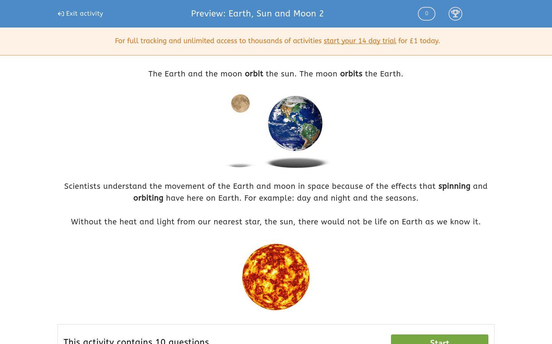 earth sun and moon 2 worksheet edplace. Black Bedroom Furniture Sets. Home Design Ideas