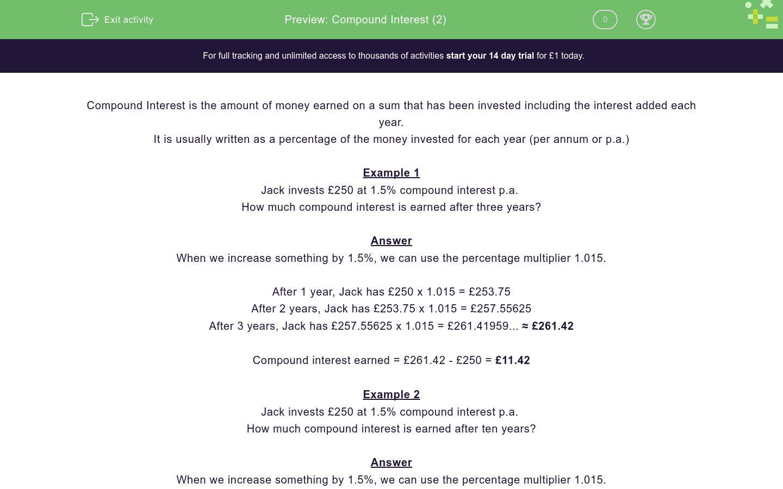 'Compound Interest (2)' worksheet