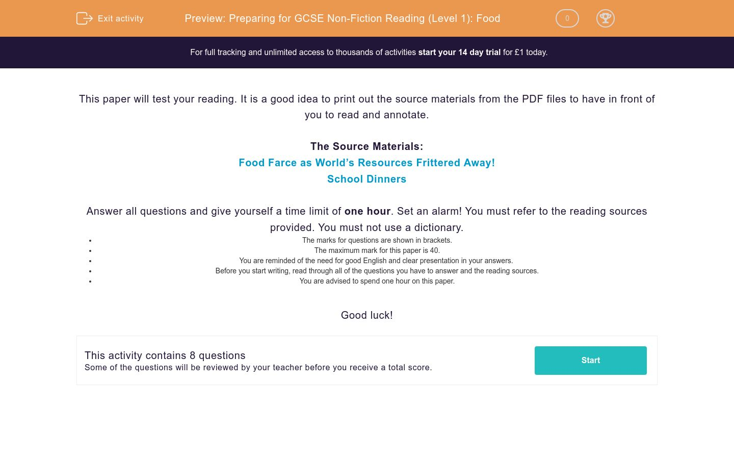 'Preparing for GCSE Non-Fiction Reading (Level 1): Food' worksheet