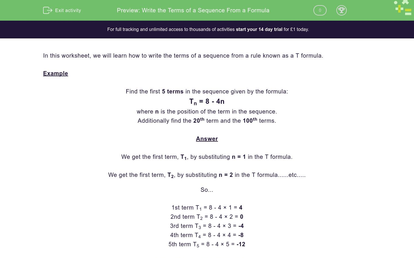 'Write the Terms of a Sequence From a Formula' worksheet
