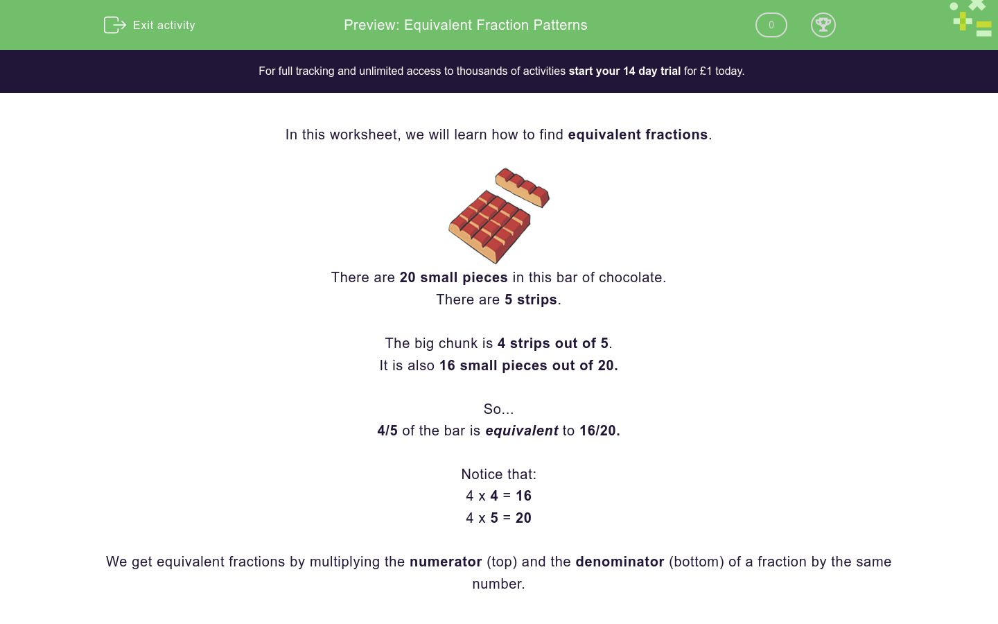 'Equivalent Fraction Patterns' worksheet