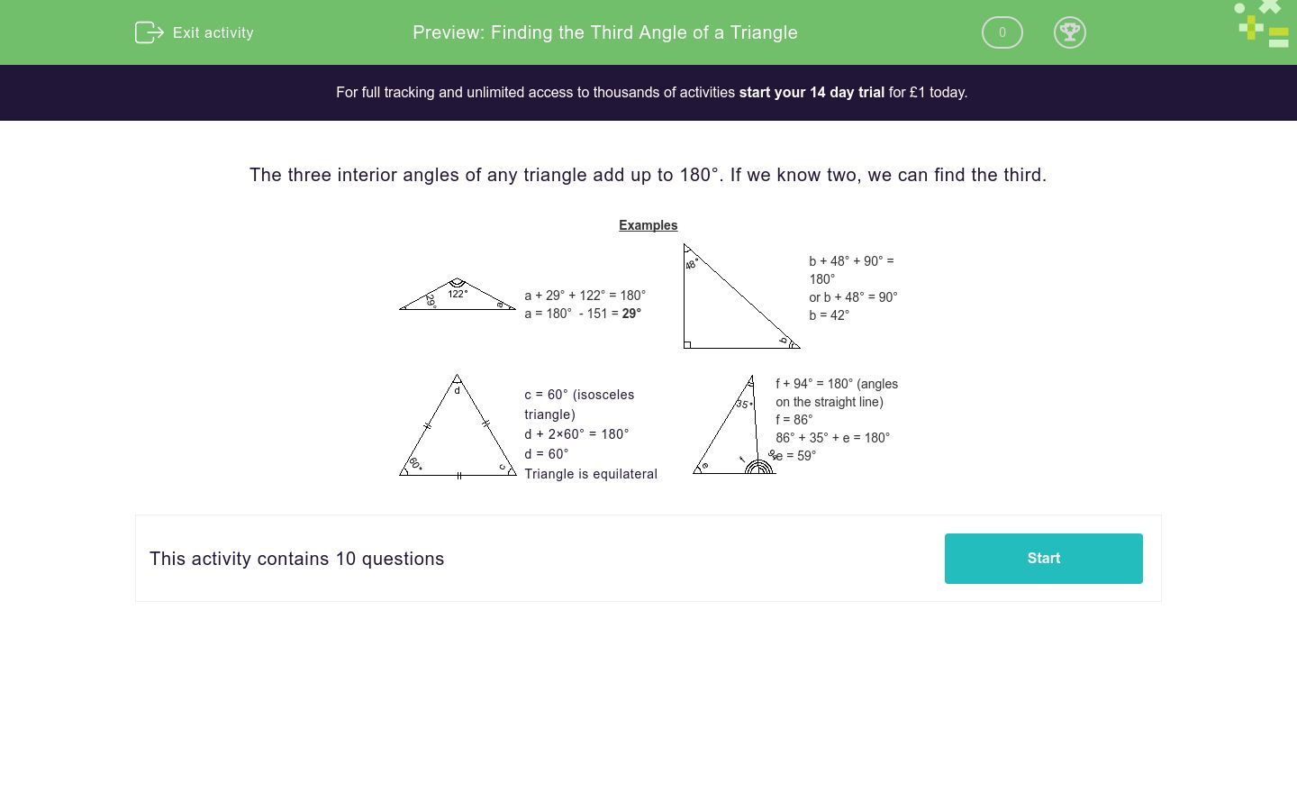 'Finding the Third Angle of a Triangle' worksheet