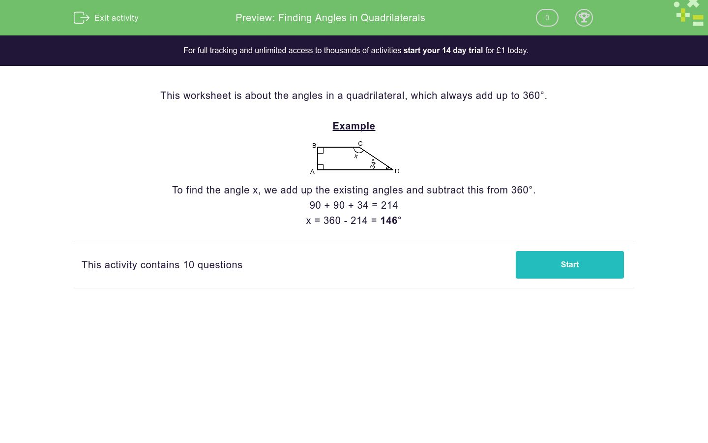 'Finding Angles in Quadrilaterals' worksheet