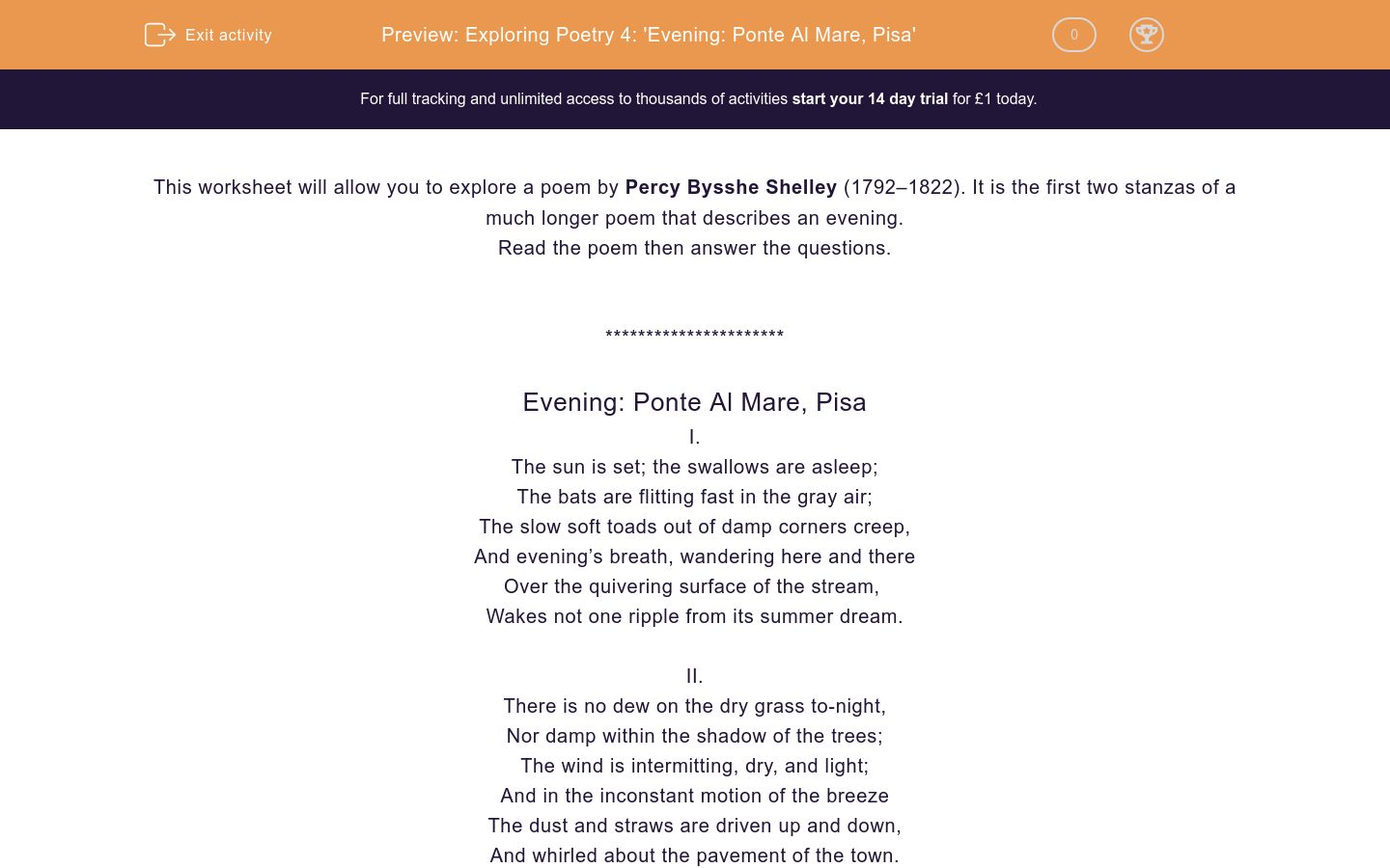 'Exploring Poetry 4: 'Evening: Ponte Al Mare, Pisa'' worksheet