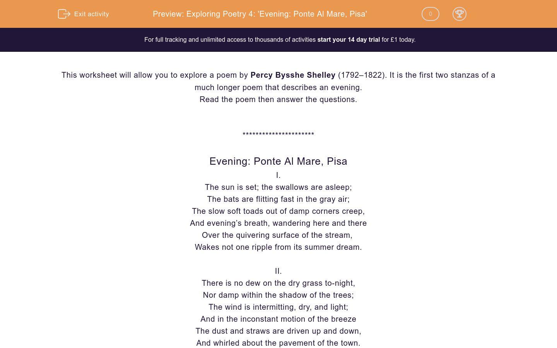 'Exploring Poetry 4: 'Evening: Ponte Al Mare, Pisa'' worksheet