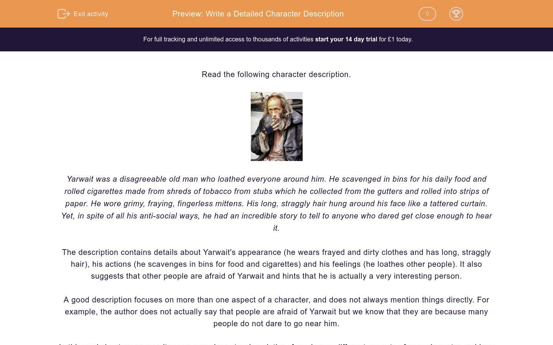 'Write a Detailed Character Description' worksheet