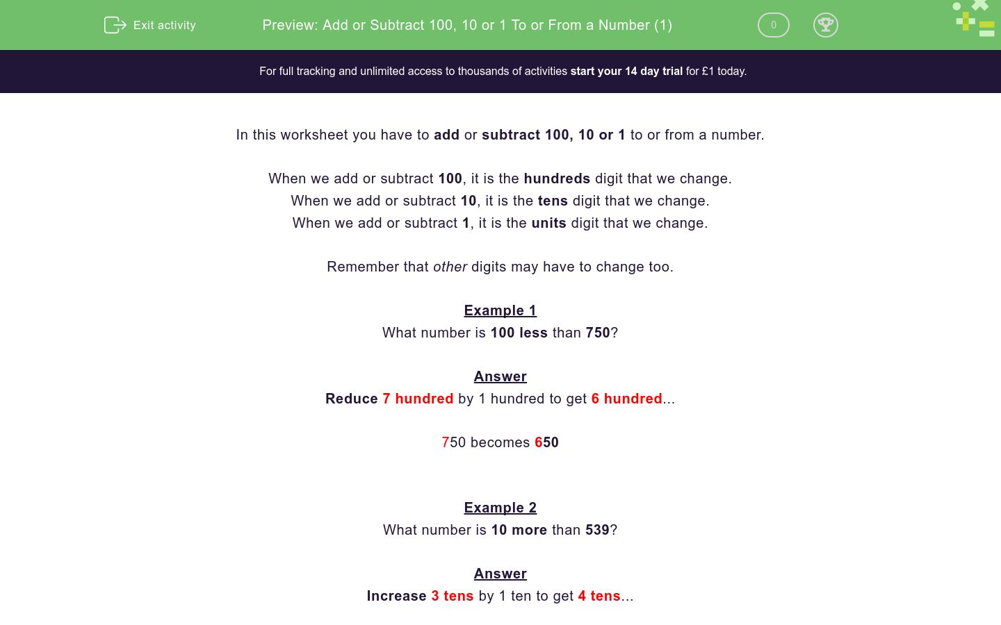 'Add or Subtract 100, 10 or 1 To or From a Number (1)' worksheet
