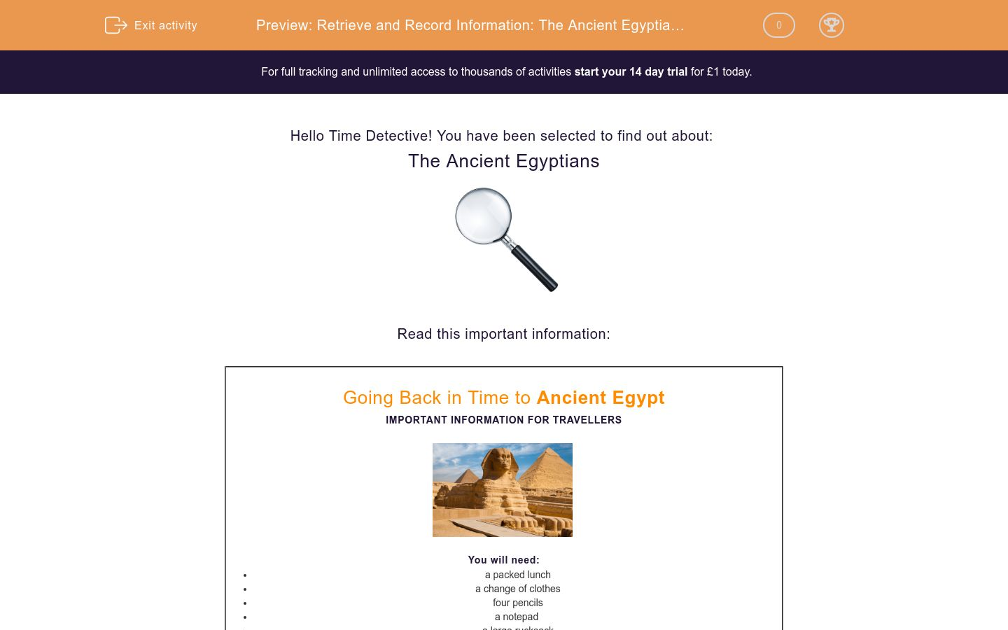 'Retrieve and Record Information: The Ancient Egyptians 2' worksheet
