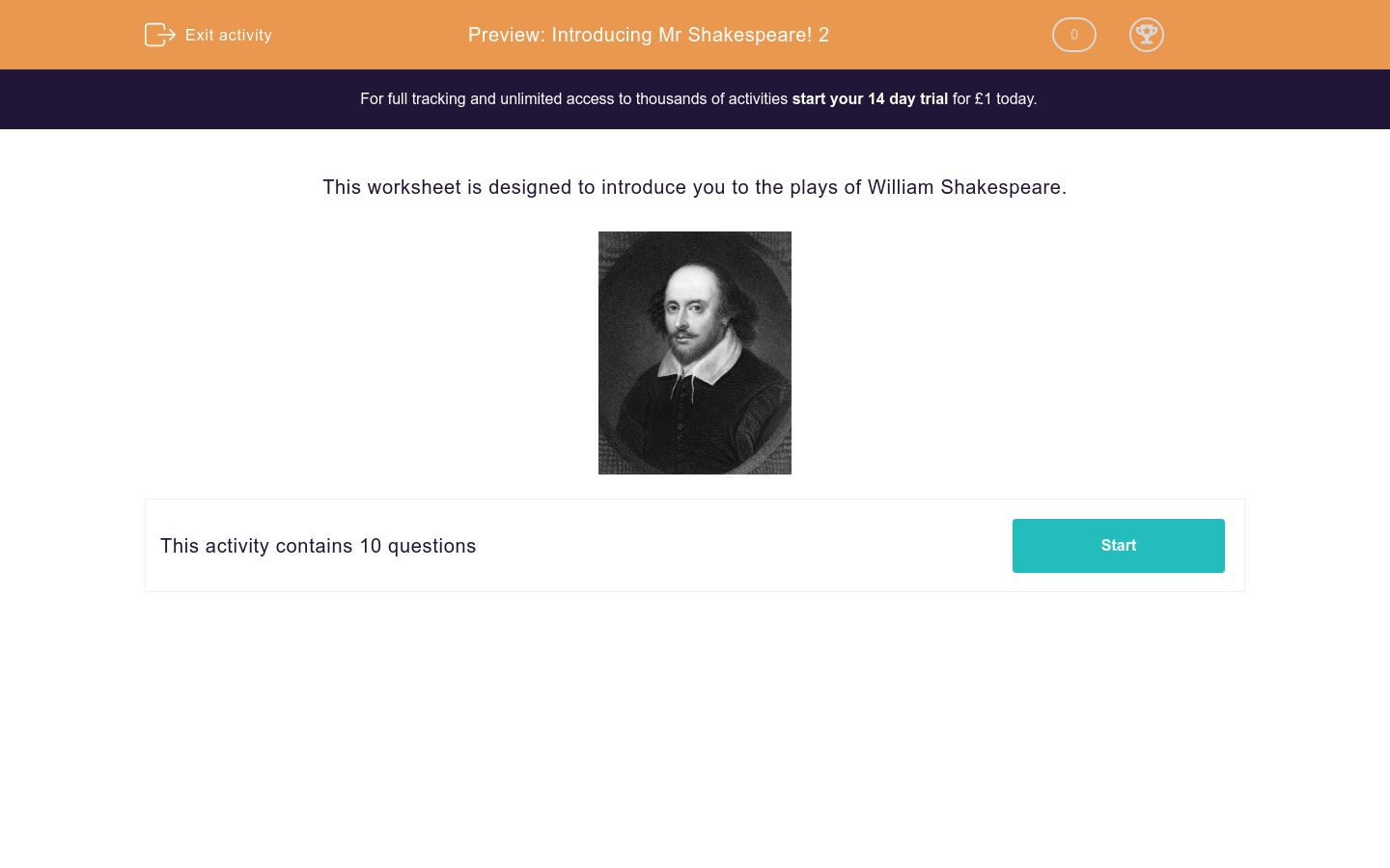 'Introducing Mr Shakespeare! 2' worksheet