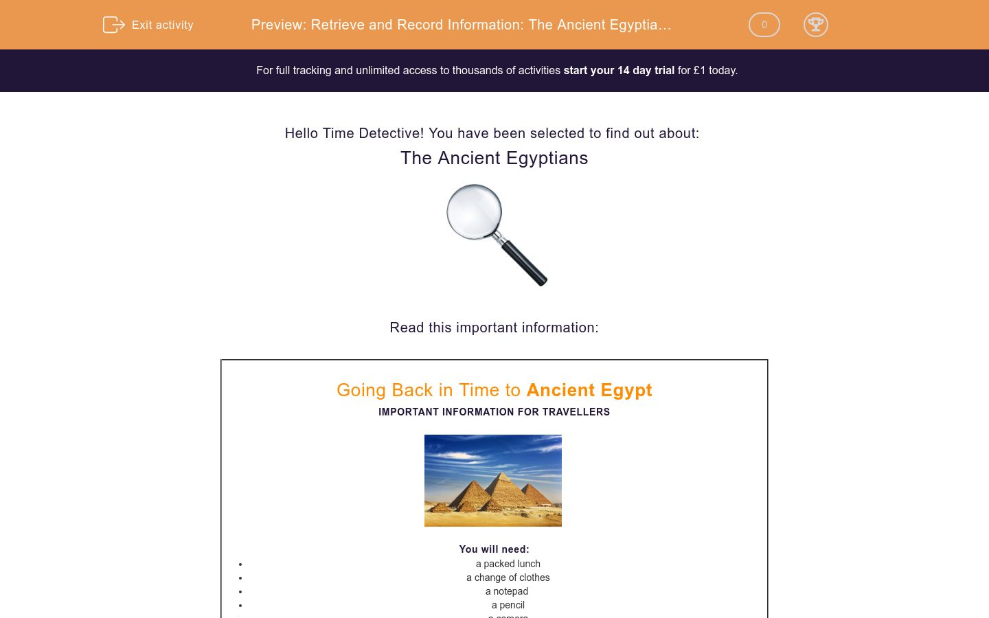 'Retrieve and Record Information: The Ancient Egyptians 1' worksheet