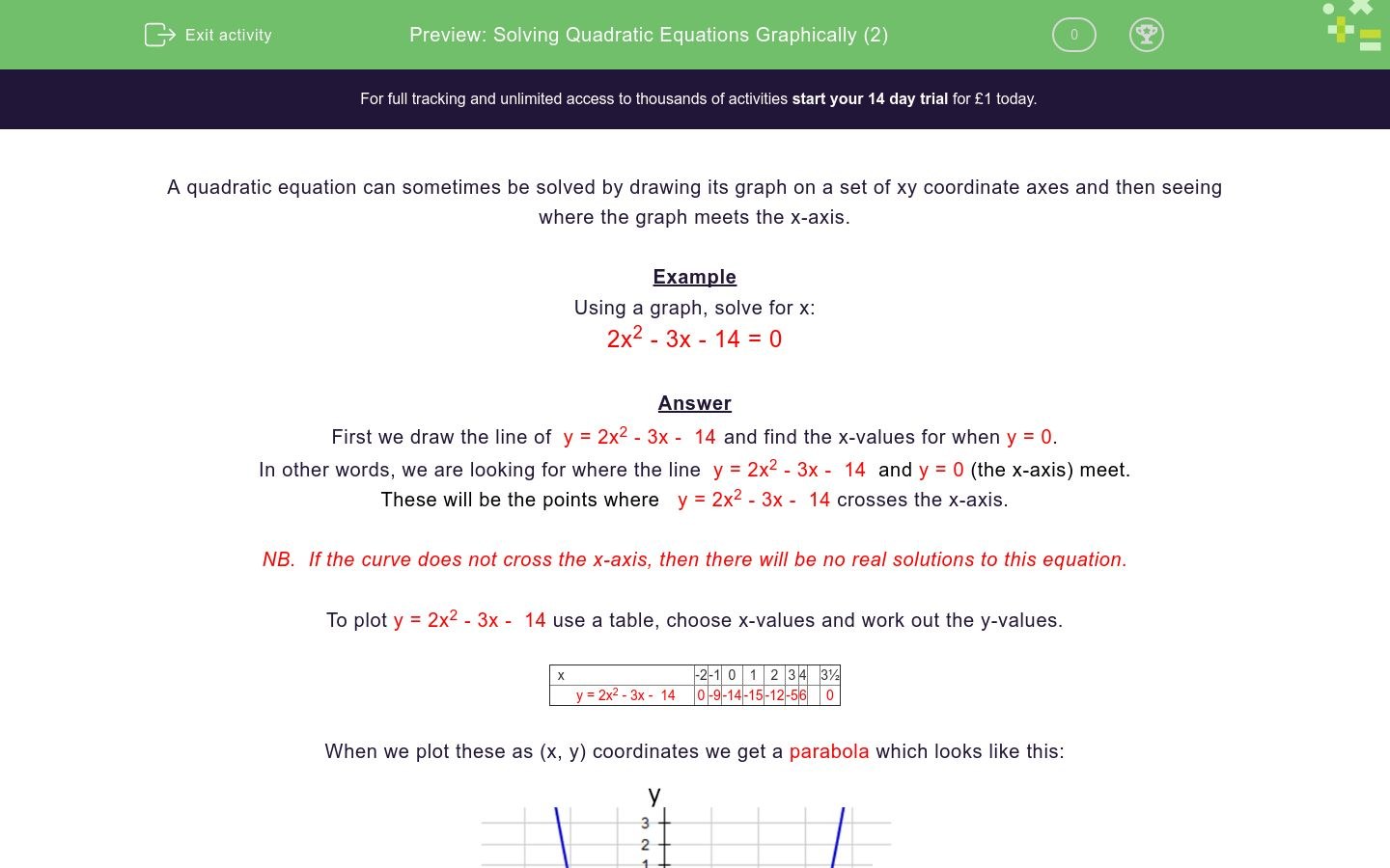 'Solving Quadratic Equations Graphically (2)' worksheet