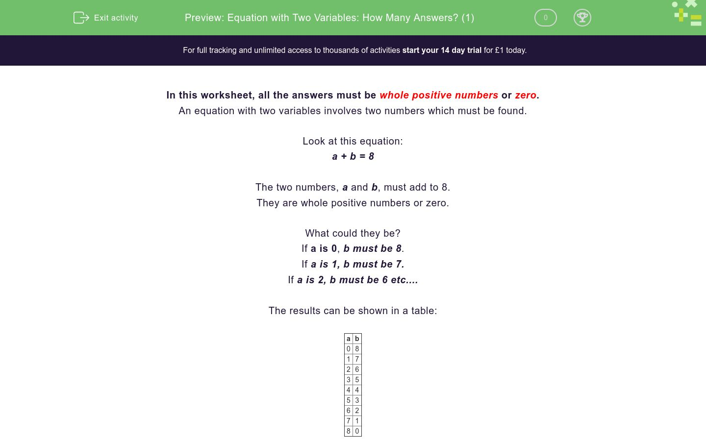 'Equation with Two Variables: How Many Answers? (1)' worksheet