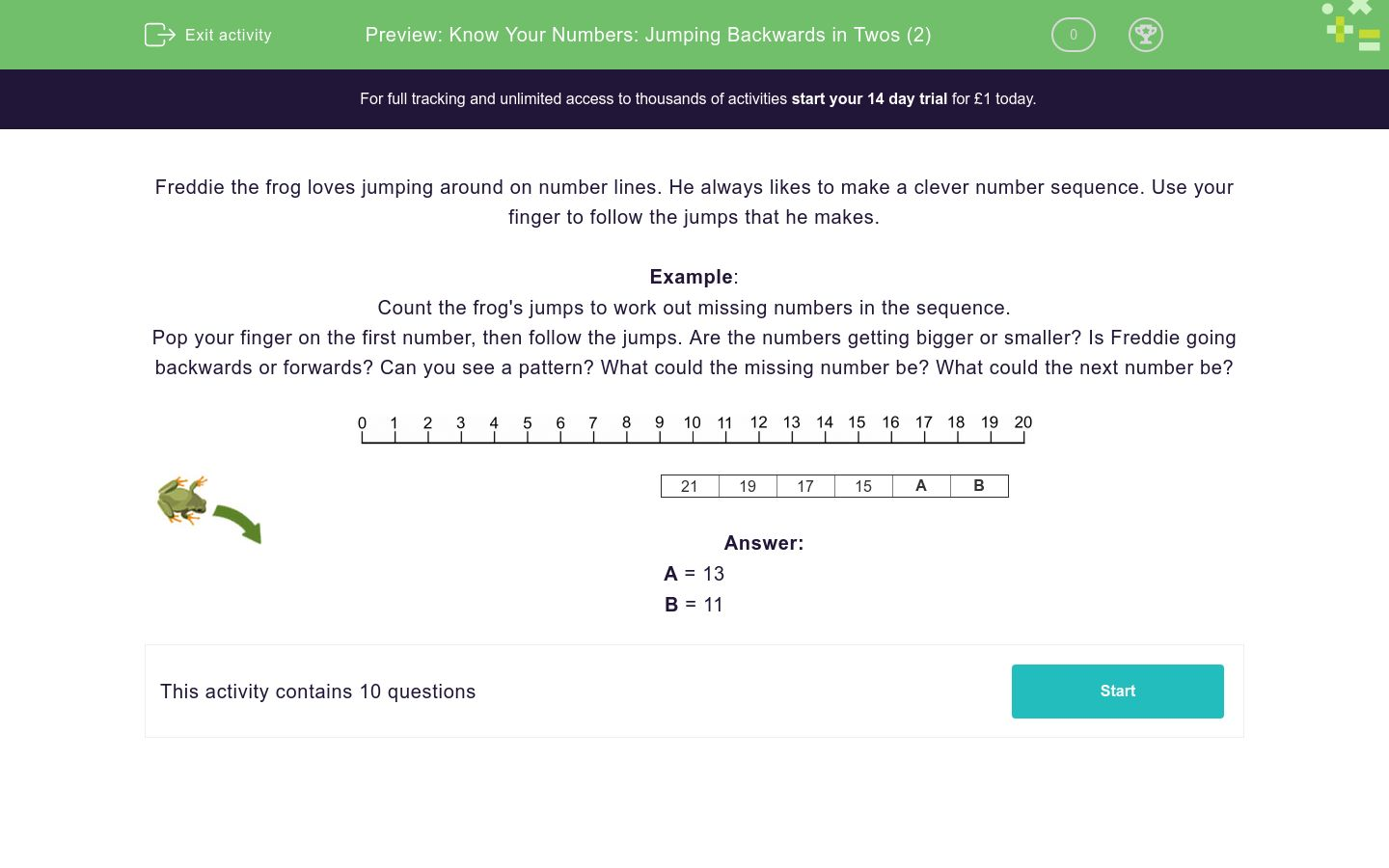 'Know Your Numbers: Jumping Backwards in Twos (2)' worksheet
