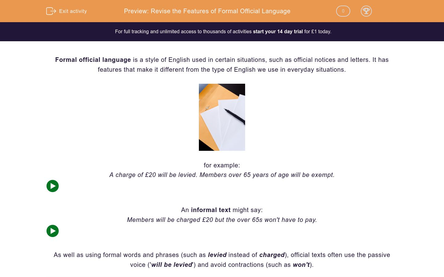 'Revise the Features of Formal Official Language' worksheet