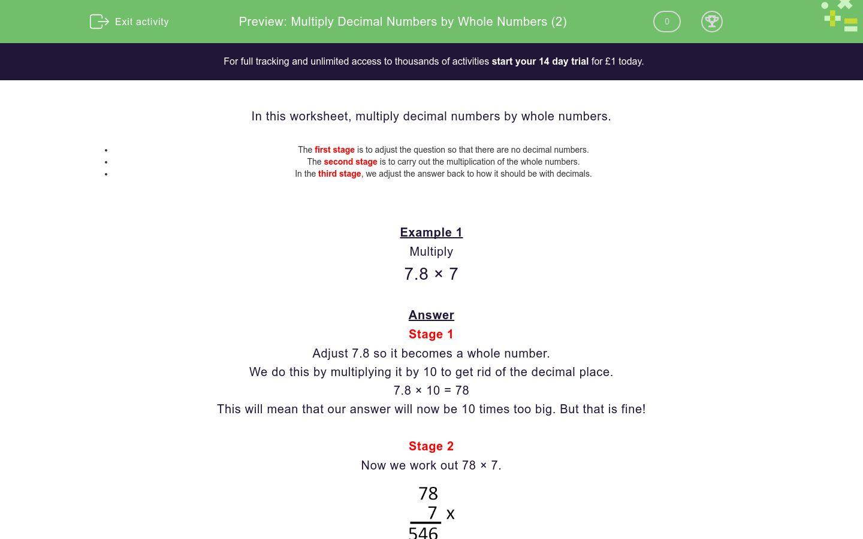 'Multiply Decimal Numbers by Whole Numbers (2)' worksheet