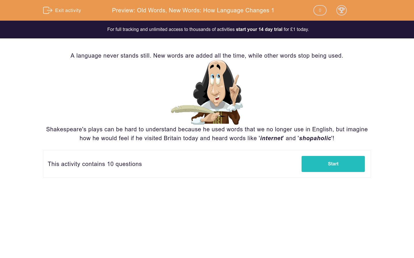 'Old Words, New Words: How Language Changes 1' worksheet