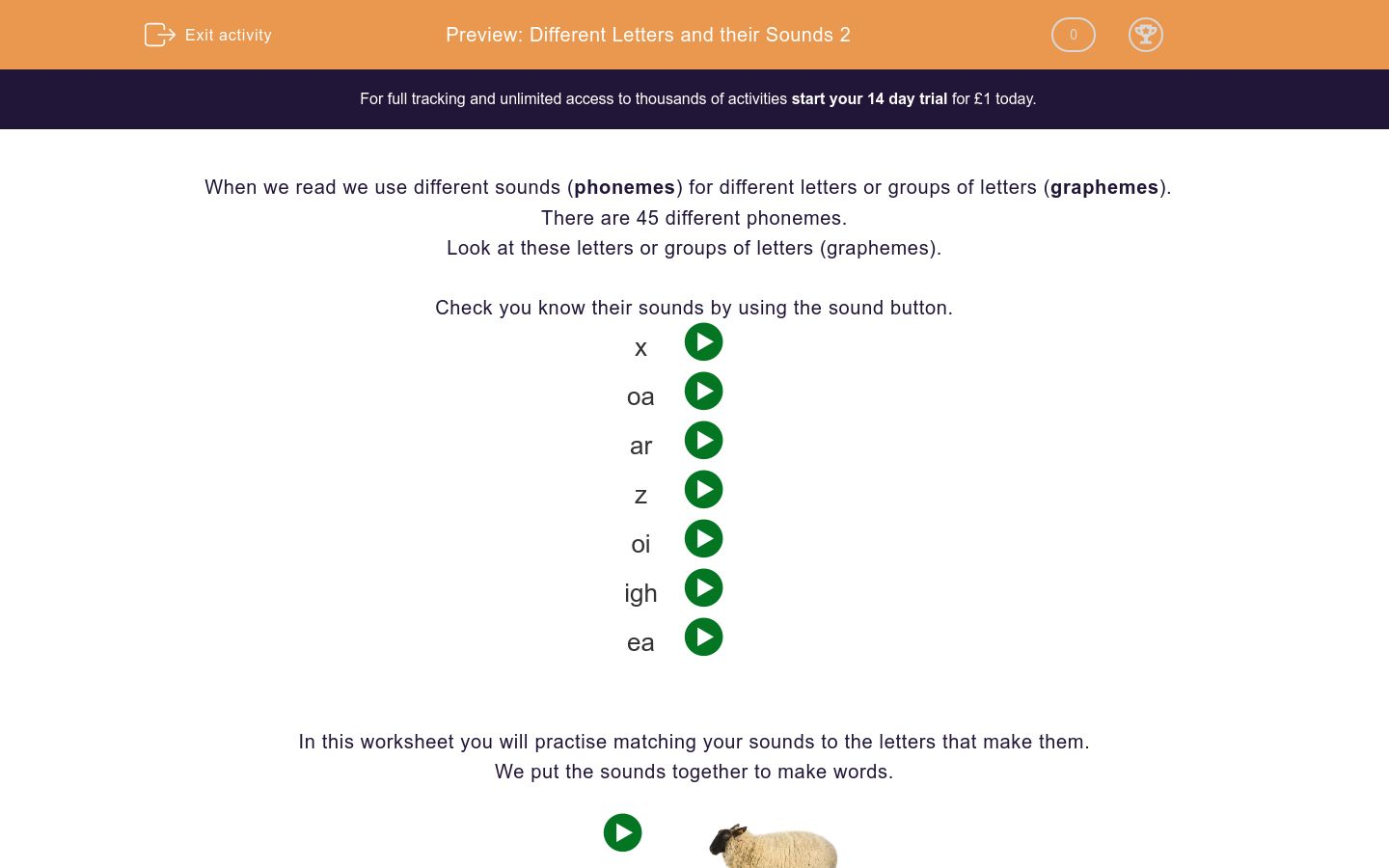 'Different Letters and their Sounds 2' worksheet