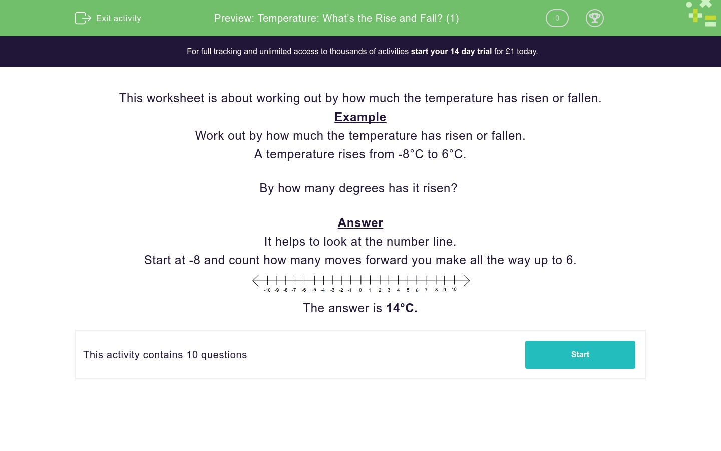 'Temperature: What's the Rise and Fall? (1)' worksheet