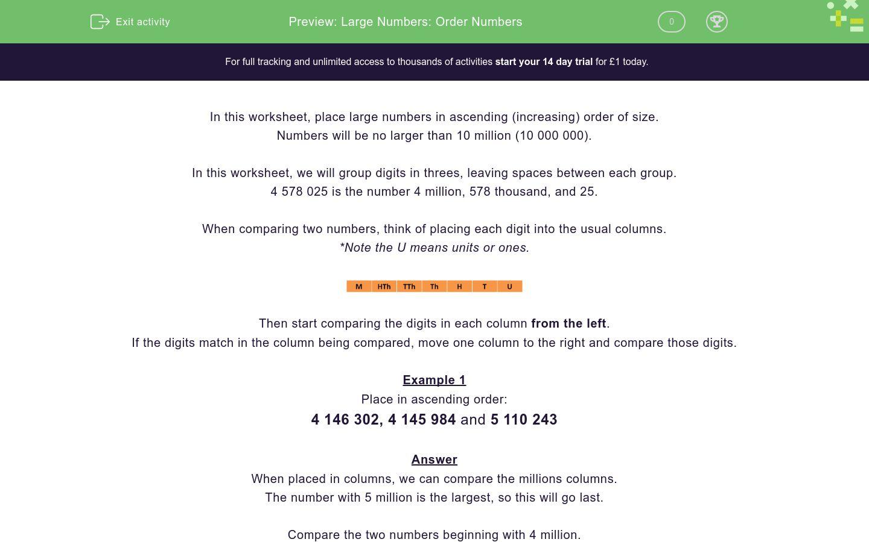 Large numbers order numbers worksheet edplace large numbers order numbers worksheet ibookread PDF