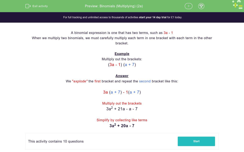 'Binomials (Multiplying) (2a)' worksheet