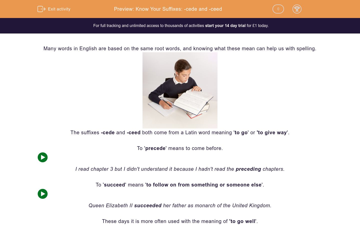 'Know Your Suffixes: -cede and -ceed' worksheet