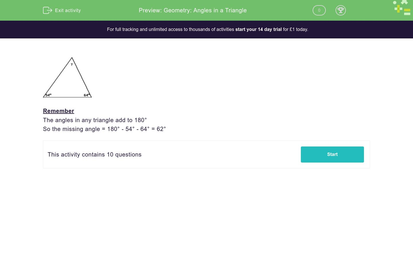'Geometry: Angles in a Triangle' worksheet