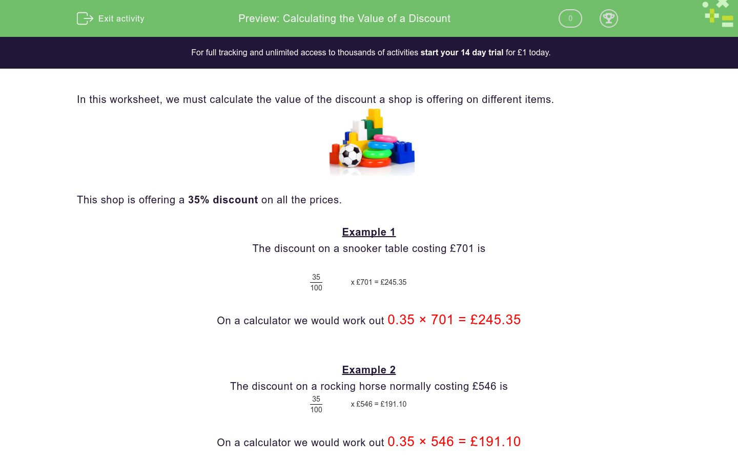 'Calculating the Value of a Discount' worksheet