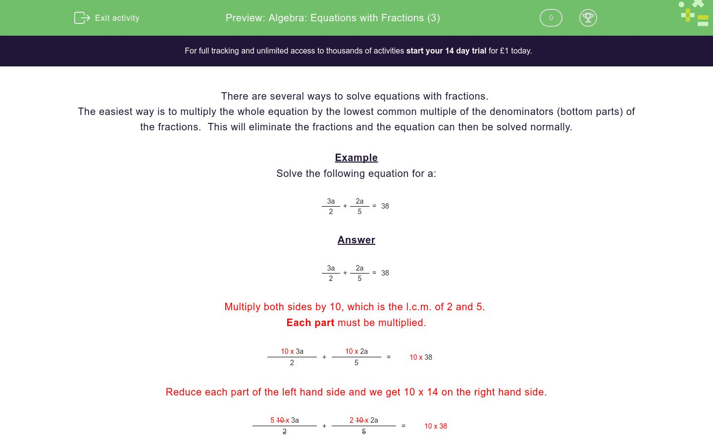 'Algebra: Equations with Fractions (3)' worksheet
