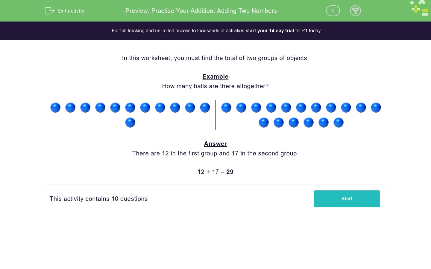 'Practise Your Addition: Adding Two Numbers' worksheet