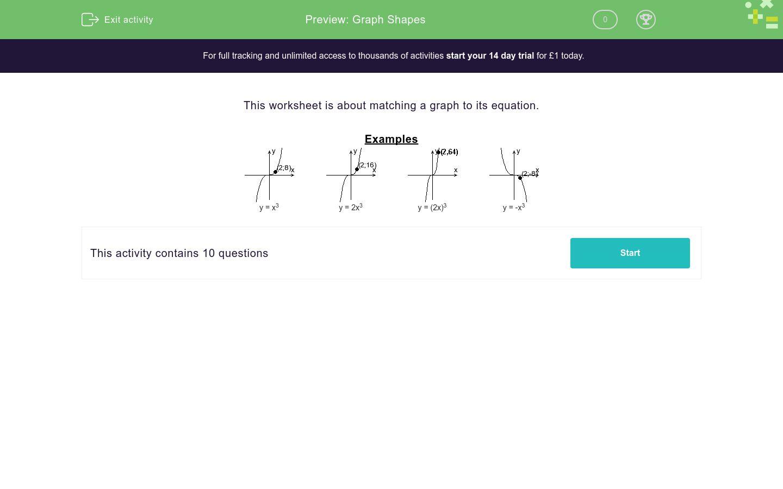 'Graph Shapes' worksheet