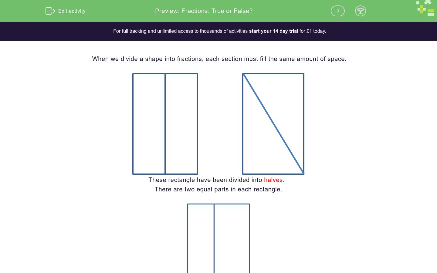'Fractions: True or False?' worksheet