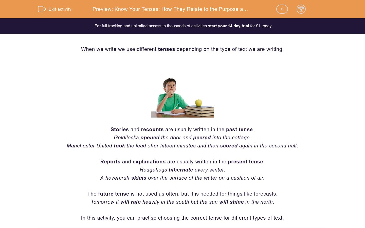 'Know Your Tenses: How They Relate to the Purpose and Structure of Texts' worksheet