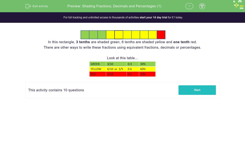 'Shading Fractions, Decimals and Percentages (1)' worksheet