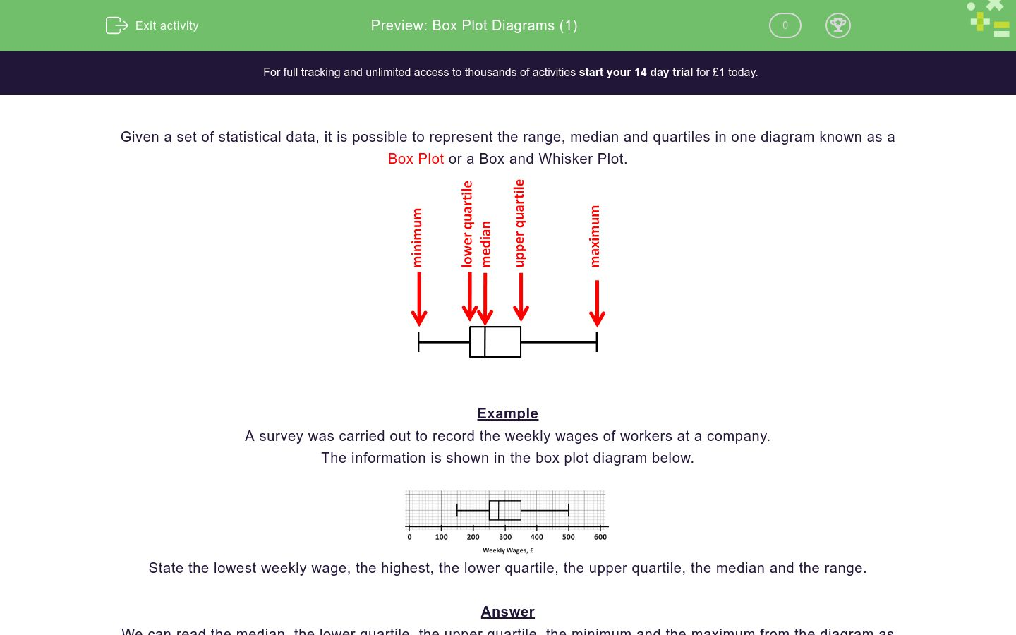Box Plot Diagrams 1 Worksheet Edplace