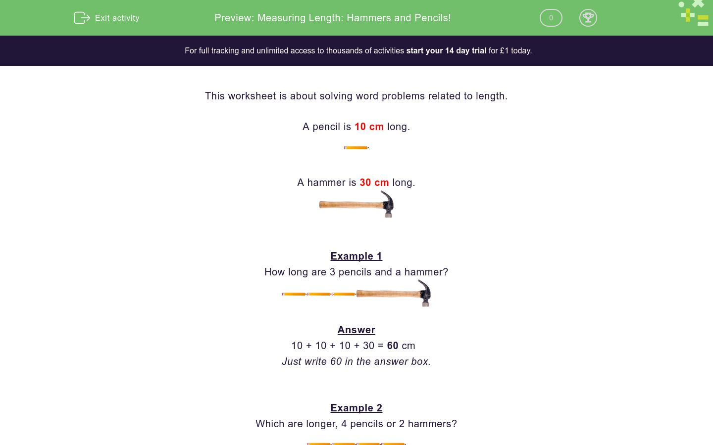 'Measuring Length: Hammers and Pencils!' worksheet