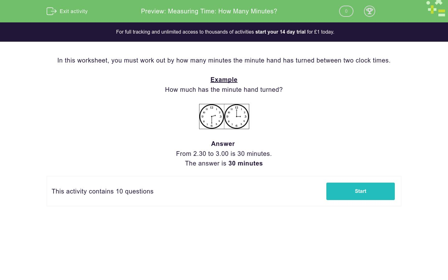 'Measuring Time: How Many Minutes?' worksheet