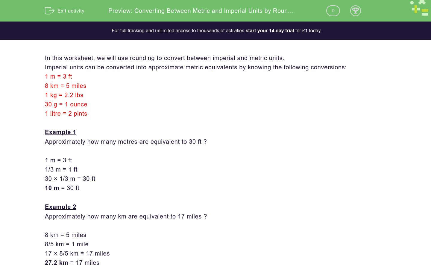 'Converting Between Metric and Imperial Units by Rounding' worksheet