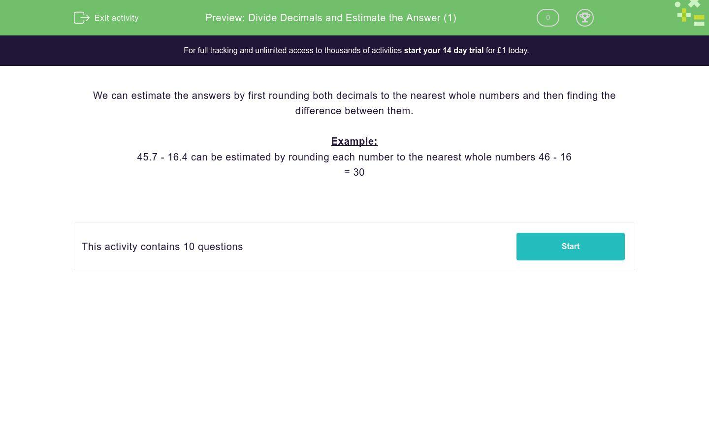 'Divide Decimals and Estimate the Answer (1)' worksheet