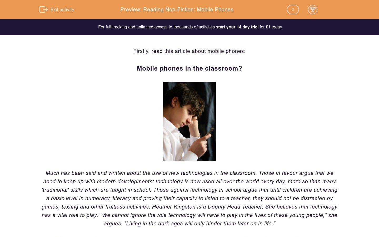'Reading Non-Fiction: Mobile Phones' worksheet
