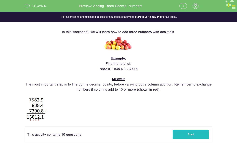 'Adding Three Decimal Numbers' worksheet