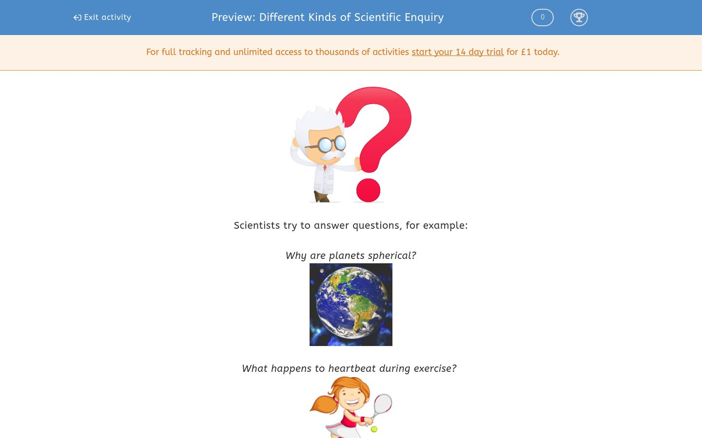 'Different Kinds of Scientific Enquiry' worksheet