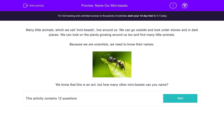 'Name Our Mini-beasts' worksheet