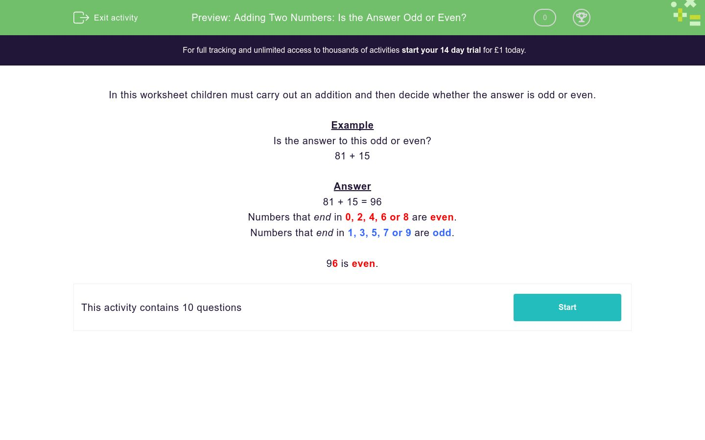 'Adding Two Numbers: Is the Answer Odd or Even?' worksheet