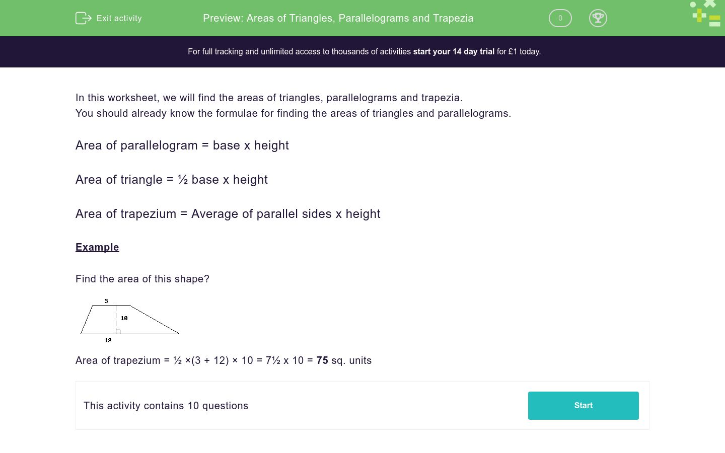 'Areas of Triangles, Parallelograms and Trapezia' worksheet