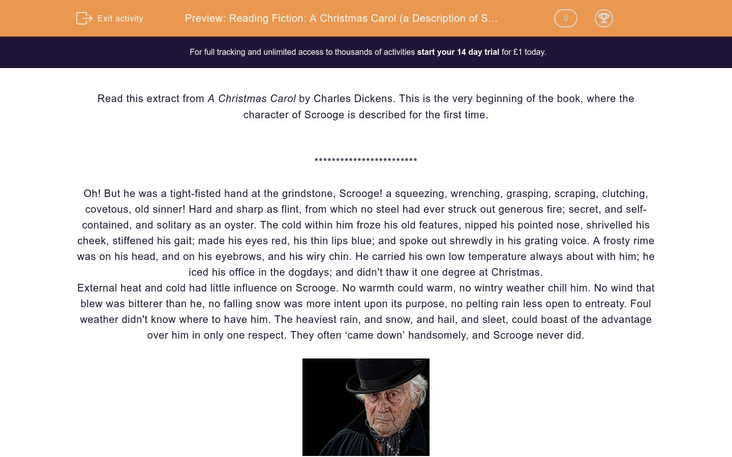 'Reading Fiction: A Christmas Carol (a Description of Scrooge)' worksheet