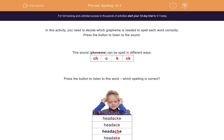 'Spelling: ch 3' worksheet
